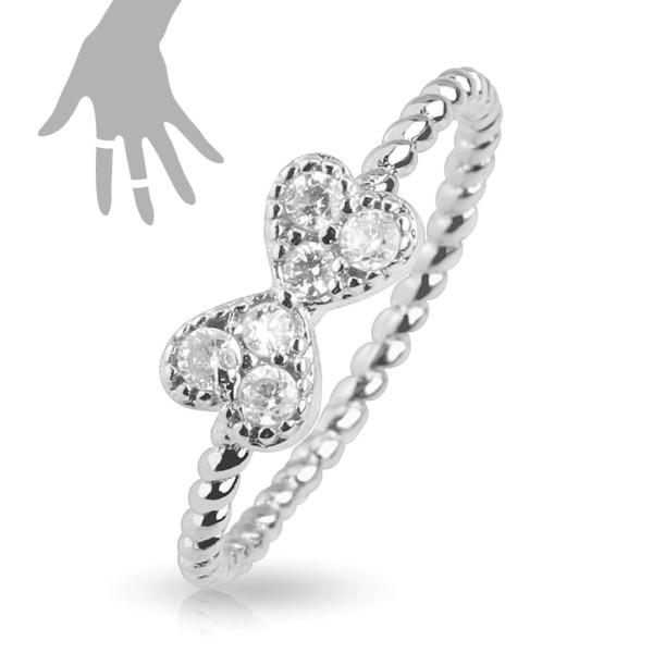 Kokardka cyrkonie pierścionek na palec rozmiar dający się regulować