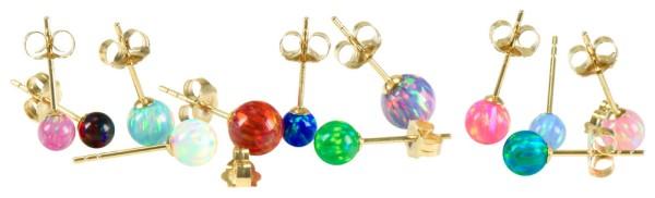 Złoto 18 karatowe kolczykk do piercingu ucha helix syntetyczny opal