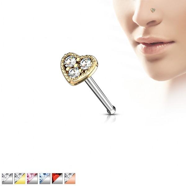 Serce z cyrkoniami prosty kolczyk do nosa