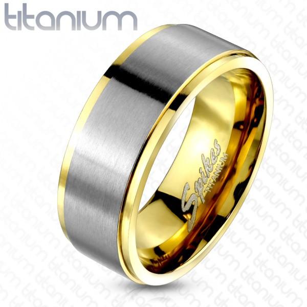 Tytan szczotkowany pokryty złotem pierścionek