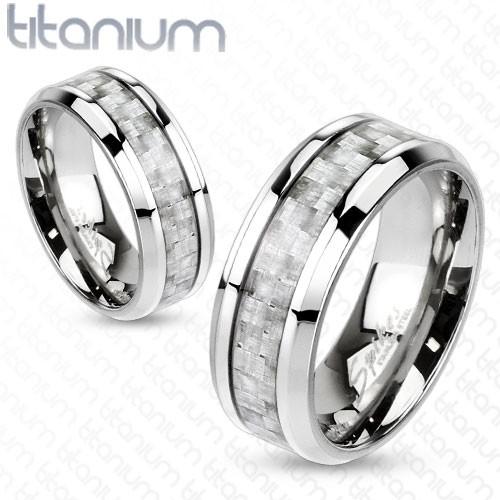 Srebrny włókno węglowe pierścionek tytan