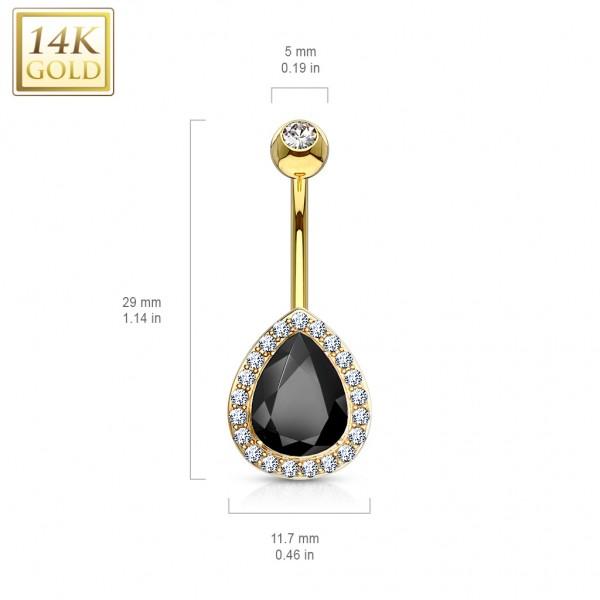 Czarna kropla kolczyk do pępka piercing prawdziwe złoto 14 karat