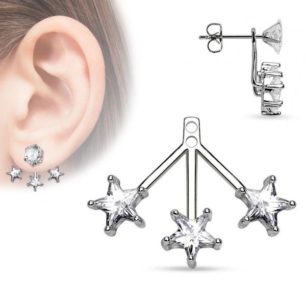 3 Sterne Helix Ohrring Ear Jacket für Ohrstecker