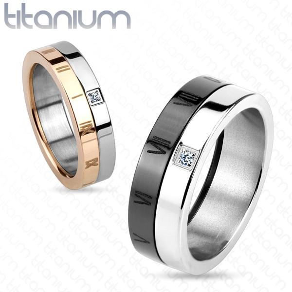 Obrączka pierścionek dla par różowe złotoczarny tytan biżuteria damska i męska