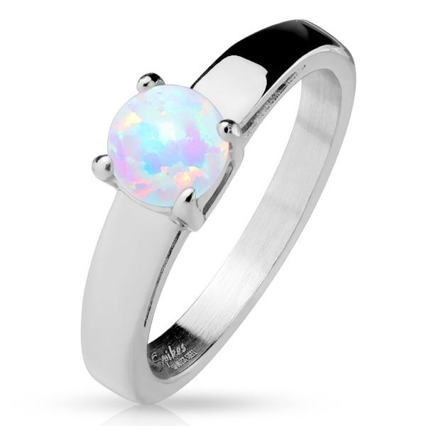 Opal klasyczny elegancki pierścionek zaręczynowy obrączka