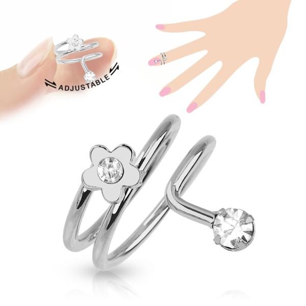 Kwiatek pierścionek na palec u dłoni lub stopy rozmiar dający się regulować