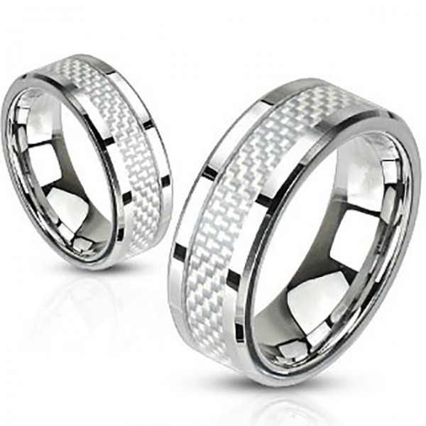 Biały pierścionek ze stali szlachetnej
