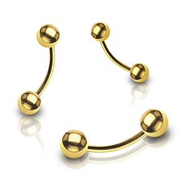 Banan z kulką barbell curved kolczyk do brwi pozłacany 14 karatowym złotem piercing
