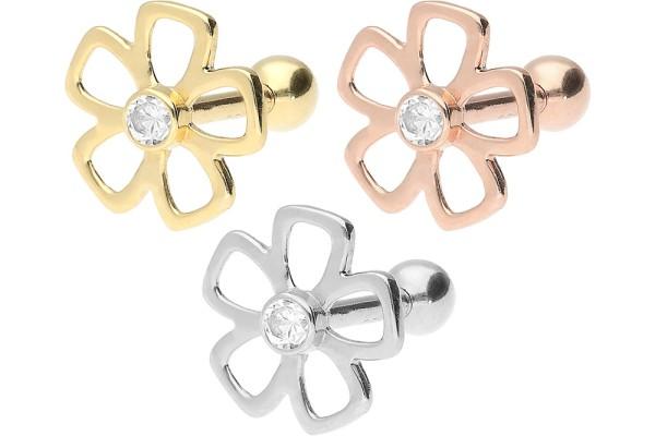 złoto 18 karatowe kolczykk do piercingu ucha helix kwiatek