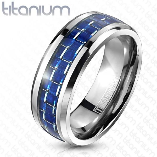 Niebieskie włókno węglowe pierścionek tytan