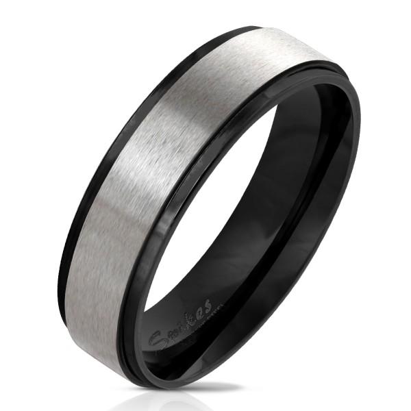 Czarna powłoka rant szczotkowana stal pierścionek ze stali szlachetnej
