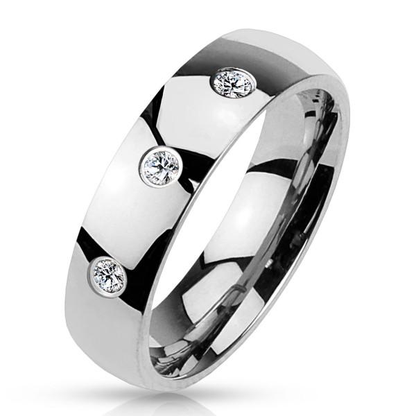 3 cyrkonie elegancki pierścionek stal chirurgiczna 316L pierścionek obrączka