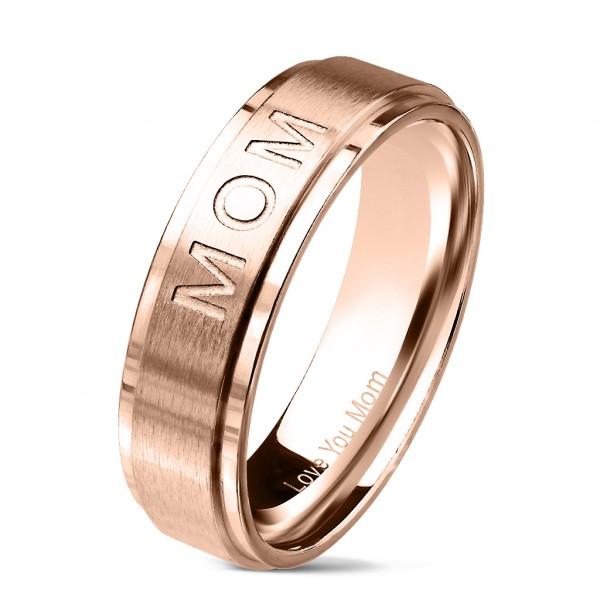 Love You Mom różowe złoto anodyzowany pierścionek obrączka