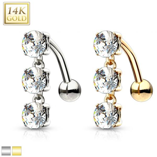 3 okrągłe cyrkonie kolczyk do pępka złoty piercing 14 karatowe prawdziwe złoto 585