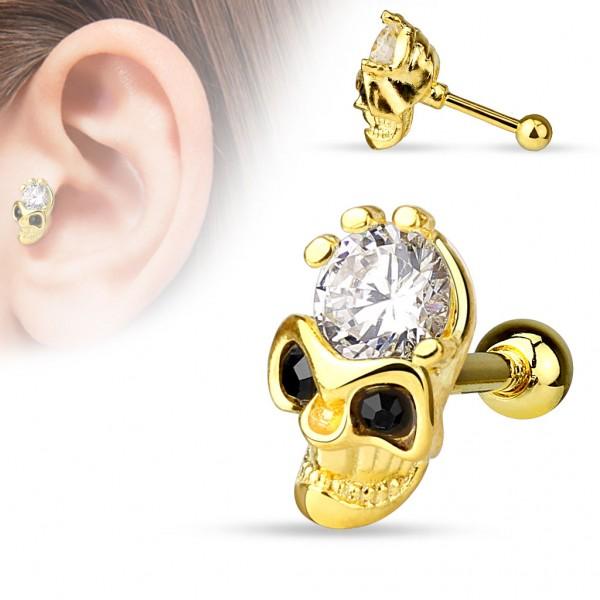 Czaszka z cyrkonia kolczyk do chrząstki ucha tragus helix cartilage stal chirurgiczna 316L piercing