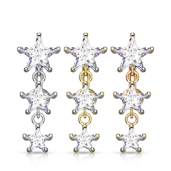 Dozen Pack Three Star CZ Vertical Drop 316L Surgical Steel Top Drop Belly Button Navel Rings