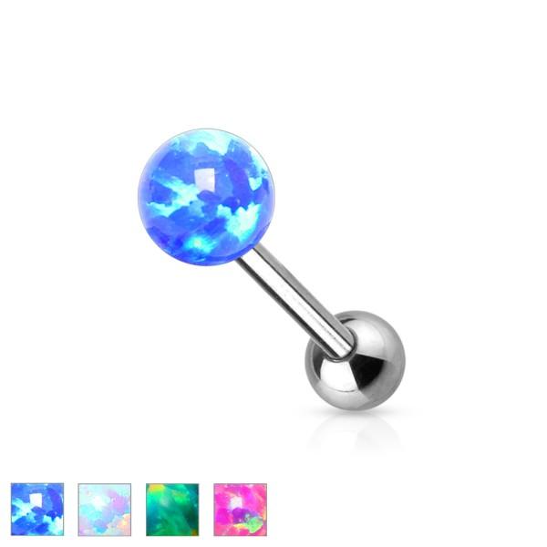 Opal kolczyk do języka sztanga barbell stal chirurgiczna kulka opal piercing