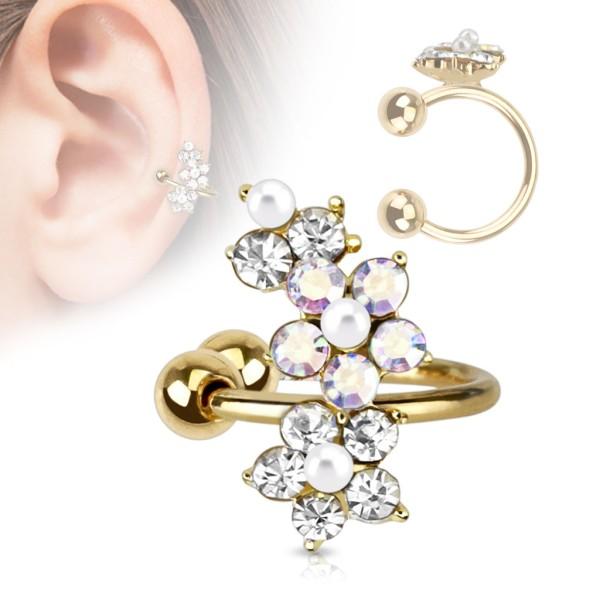 aed6f8873cf2ac Kwiatki Nausznica kolczyk do ucha i chrząstki ucha klips bez przekłuwania  piercing