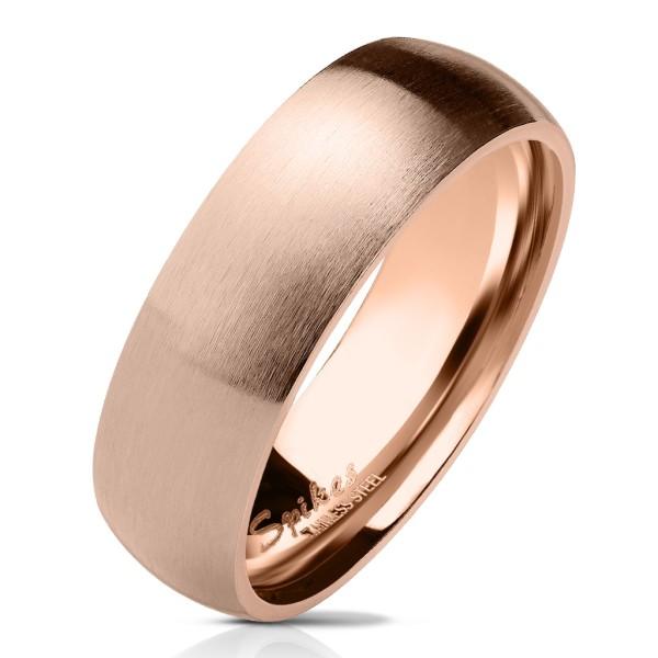 Pierścionek matowy błyszczący w środku klasyczny różowe złoto stal szlachetna obrączki ślubne