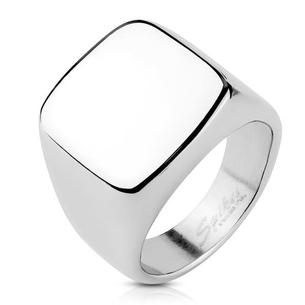 Kwadrat szlif sygnet pierścionek ze stali szlachetnej