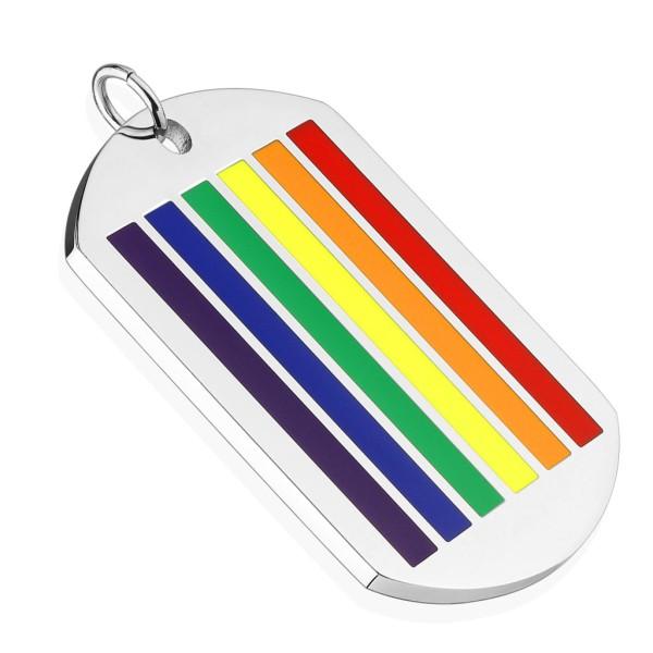 Hundemarke Silber Regenbogen Farben Anhänger 316L Stahl