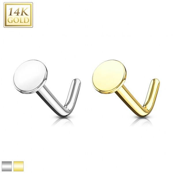 Okrągły płaski kolczyk do nosa nostril piercing złoto 14 karatowe 585