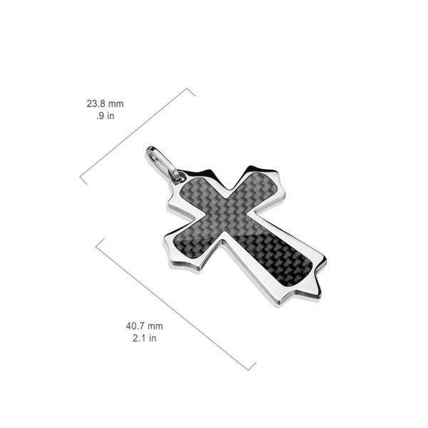 Zawieszka Krzyż czarne włókno węglowe stal 316L
