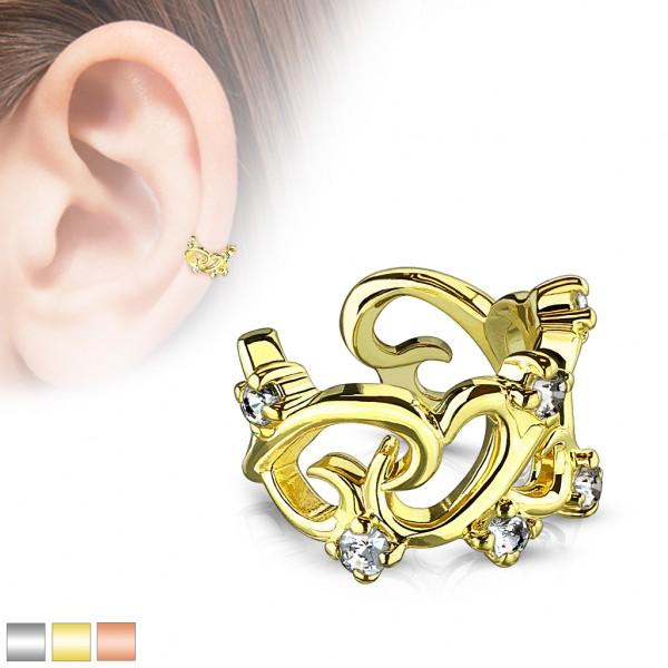 Serca złoty klipsy do ucha kolczyk helix bez przekłuwania oszukany piercing nausznica