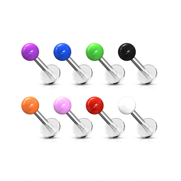 316L Surgical Stainless Steel Monroe/Labret with Acrylic Solid Color Balls 320pc Pack (40pcs x 8 colors)