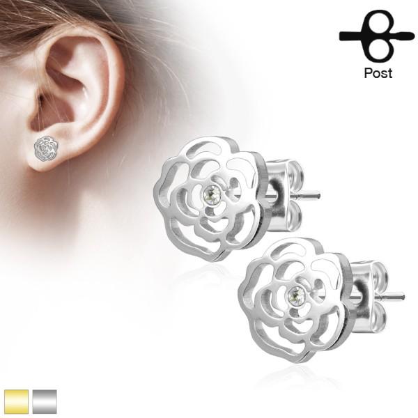 Różowe Blossom z kryształ stal chirurgiczna 316L kolczyki proste para