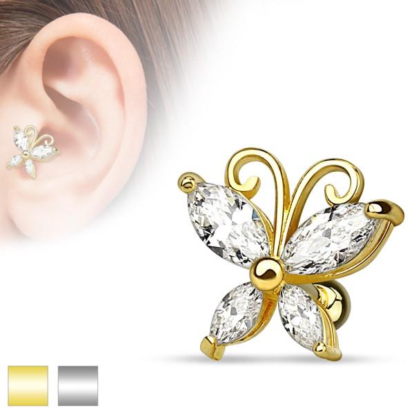 Schmetterling Zirkonia Helix Ohrring Tragus Piercing Barbell