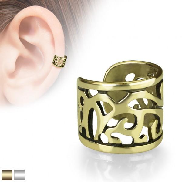 Vintage złoty klipsy do ucha kolczyk helix bez przekłuwania oszukany piercing nausznica