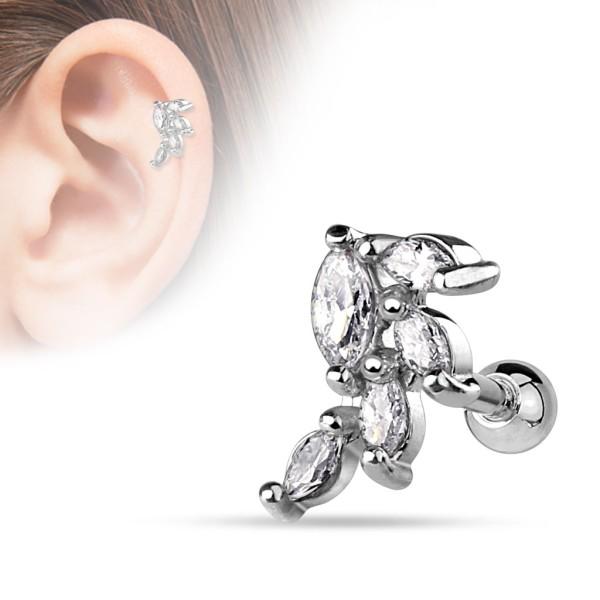 Winogron cyrkonia kolczyk do chrząstki ucha tragus helix cartilage stal chirurgiczna 316L piercing