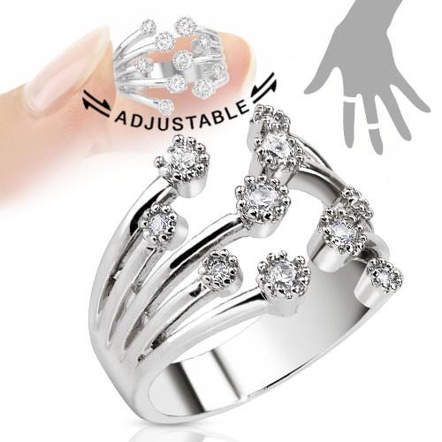 Cyrkonie pierścionek na palec rozmiar dający się regulować