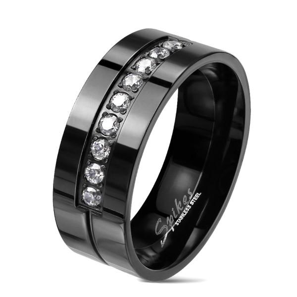9 cyrkonii czarny pierścionek stal szlachetna