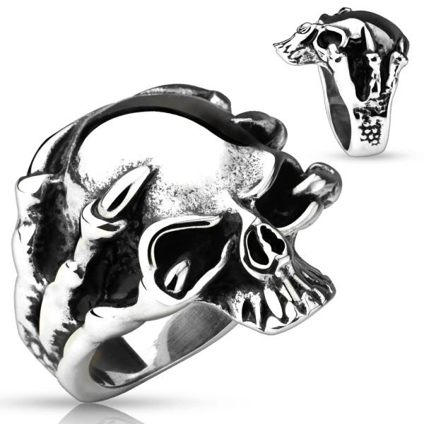 Smok kieł czaszka pierścionek stal chirurgiczna 316L