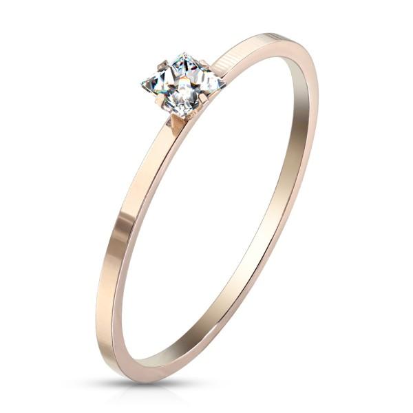 Cyrkonia różowe złoto pierścionek zaręczynowy damski obrączka