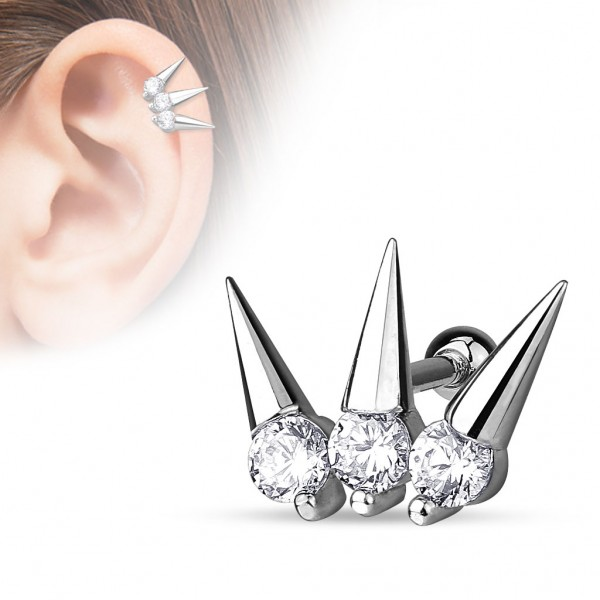 Cyrkonie z kolcami kolczyk do chrząstki ucha tragus helix cartilage stal chirurgiczna 316L piercing