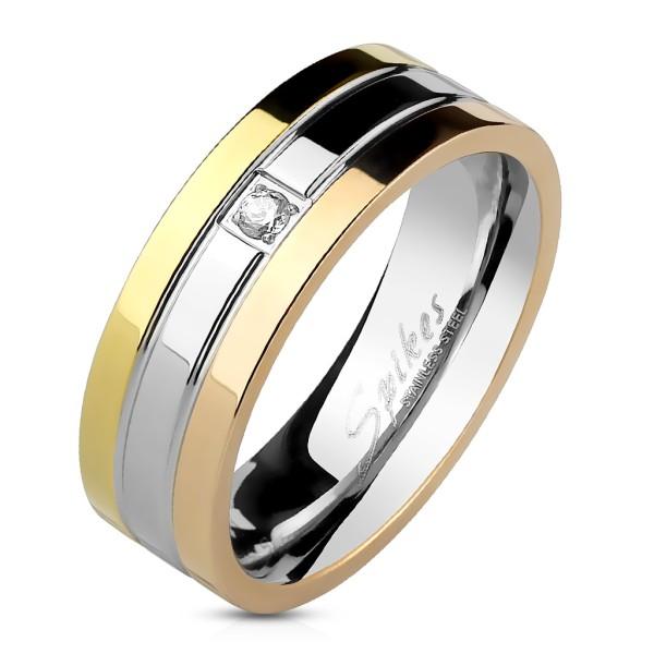 Trzykrotny tonacja z powłoką rowki pojedyńczy cyrkonia pierścionek ze stali szlachetnej
