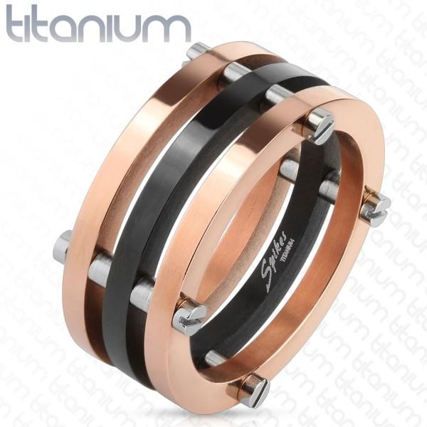 Dwa stonowany czarny i pozłacany różowym złotem z Posts tytan pierścionek