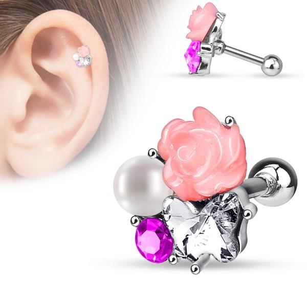 Róża perła kolczyk do chrząstki ucha tragus helix cartilage stal chirurgiczna 316L piercing