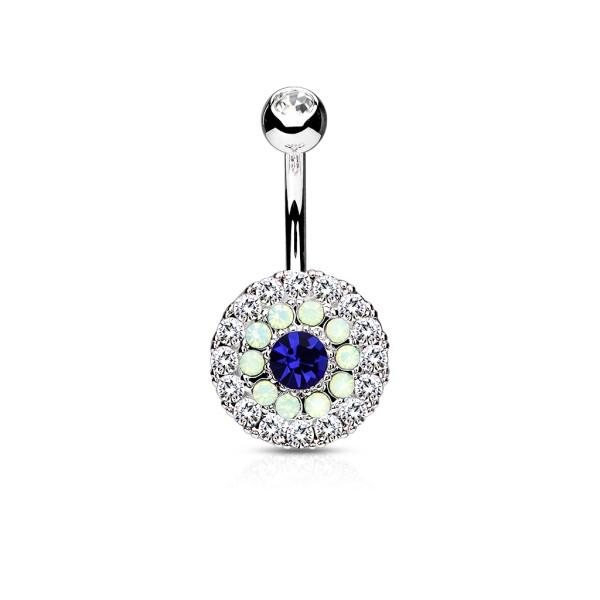wiele koło trzykrotny Tiered kryształ i Opalite 316L kolczyk do pępka stal szlachetna pierścionek
