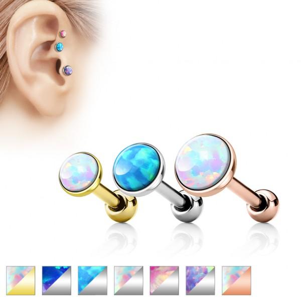 Opal płaski kolczyk do chrząstki ucha tragus helix cartilage stal chirurgiczna 316L piercing