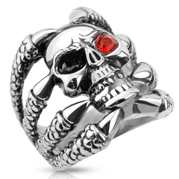 Czaszka czerwone oko pierścionek damski lub męski na palec ręki stal szlachetna