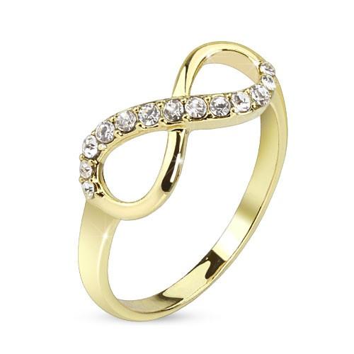 Nieskończoność z cyrkoniami złoty pierścionek na palec u dłoni lub stopy rozmiar dający się regulować prezent
