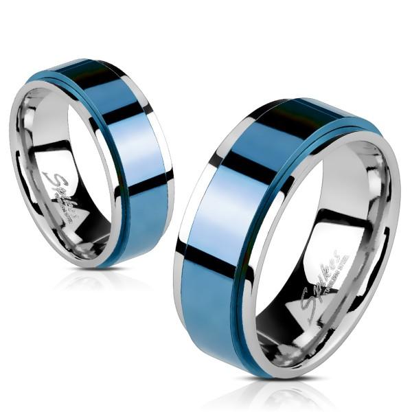 Niebieski pierścionek damski męski ze stali szlachetnej