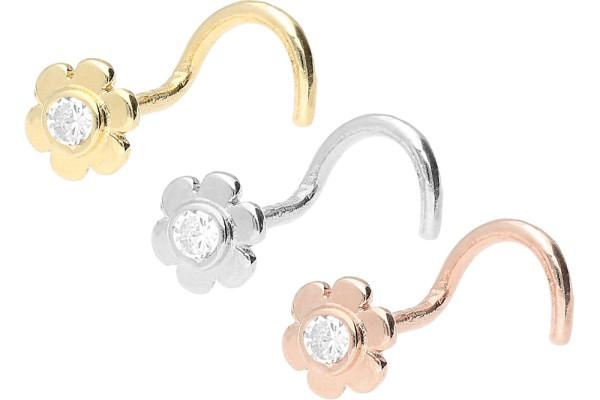 Złoto 18 karatowe kolczyk do piercingu nosa spirala kwiat kryształ