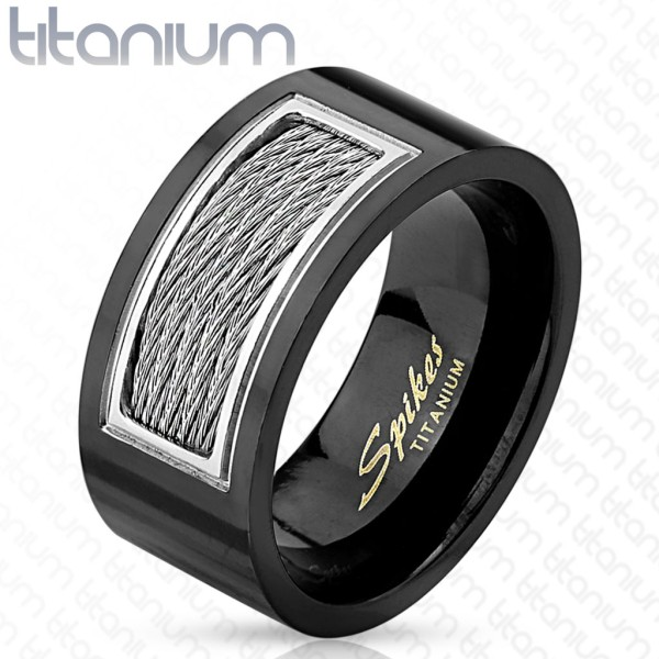 Czarny tytan pierścionek