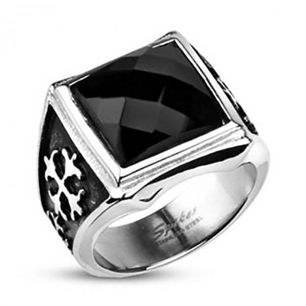 Kwadrat onyx sygnet pierścień damski męski