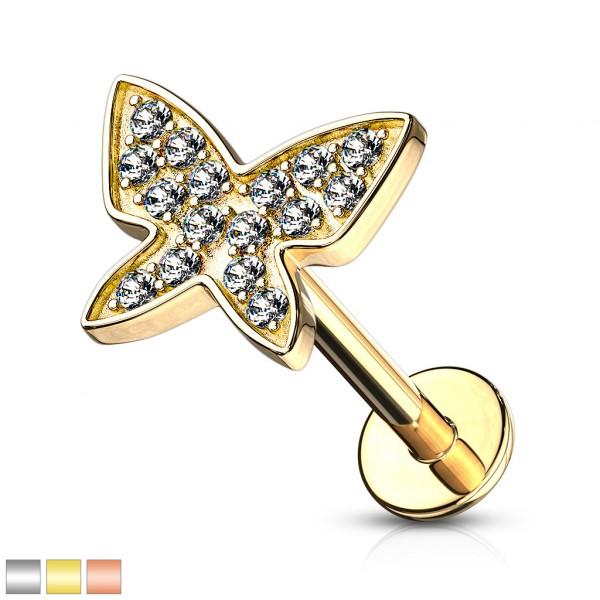 Motylek z Małymi Kryształkami Kolczyk do Piercingu Ucha Labret Monroe Helix Sztanga Gwint Wewnętrzny
